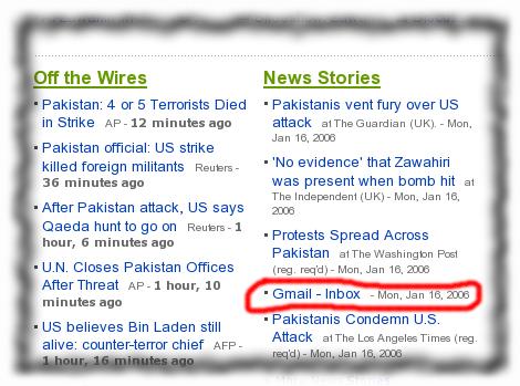 Yahoo News links Gmail